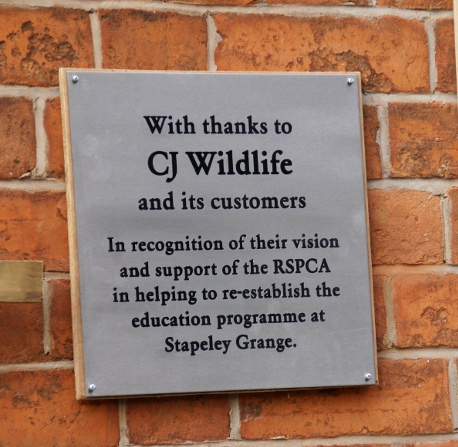 Plaque thanking CJ Wildlife