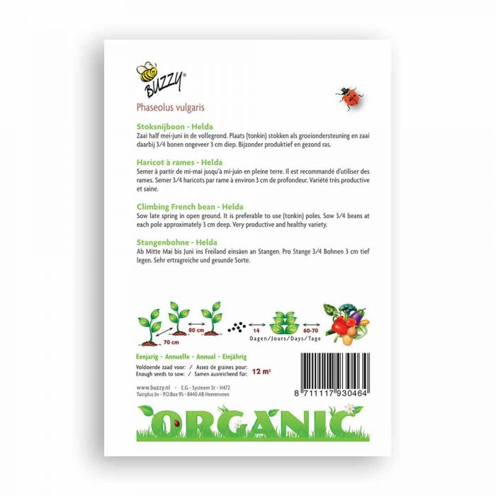 Buzzy® Organic Climbing French Beans - Helda
