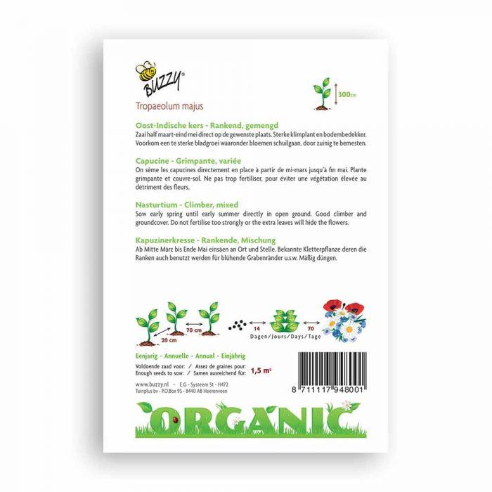 Buzzy® Organic Nasturtium - Single Flower Mix (BIO)
