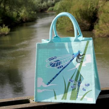 Damselfly Jute Shopping Bag