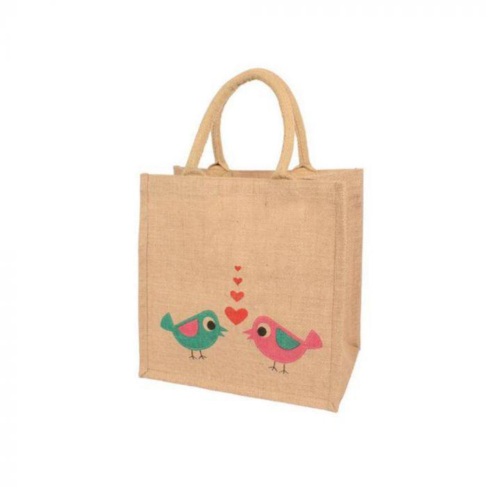 Love Birds Jute Shopping Bag
