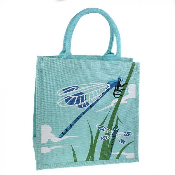Damselfly Jute Shopping Bag