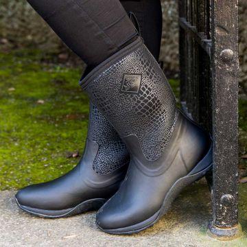 Women's Arctic Weekend Black Croc Print Short Boots