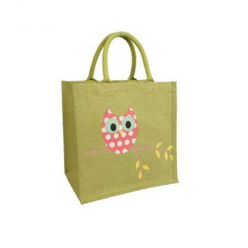Owl Jute Shopping Bag