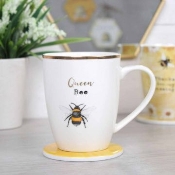 Queen Bee Ceramic Mug & Coaster Set